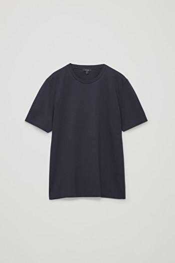 코스 티셔츠 COS BONDED COTTON T-SHIRT,Navy