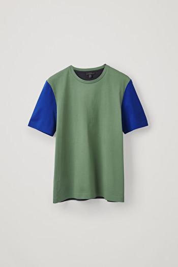 COS BONDED COTTON T-SHIRT,Green \/ blue \/ navy
