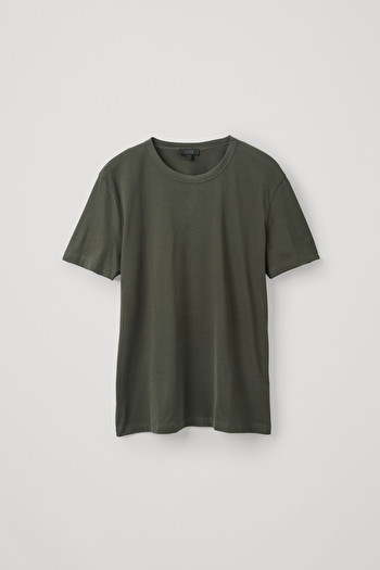 COS BRUSHED COTTON T-SHIRT,Khaki green
