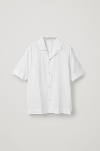코스 셔츠 COS CAMP-COLLAR CRINKLED-COTTON SHIRT,White