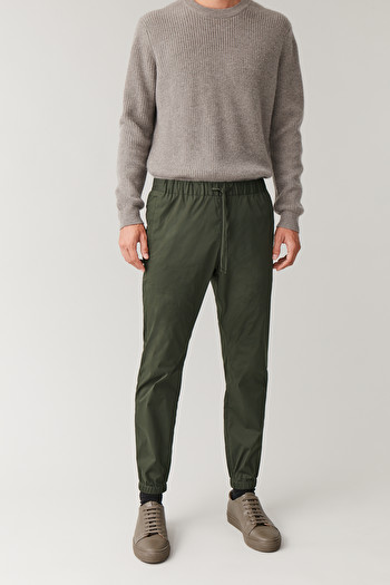 COS ELASTIC-WAIST COTTON TROUSERS,Forest green