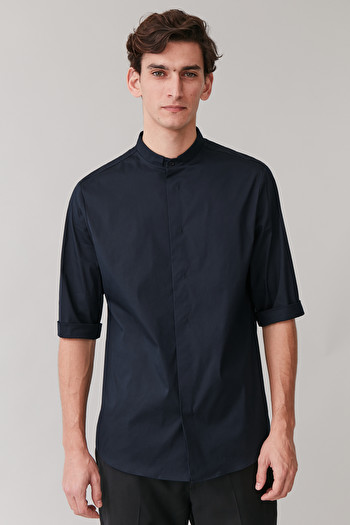 COS 3/4-SLEEVED GRANDAD SHIRT,Deep navy