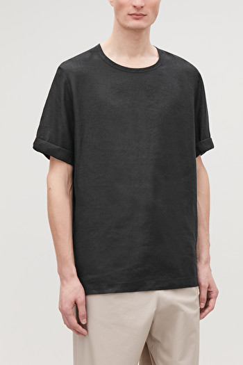 COS OVERSIZED LINEN T-SHIRT,Black