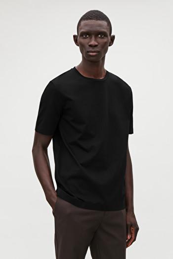 코스 맨 티셔츠 COS BONDED COTTON T-SHIRT,Black