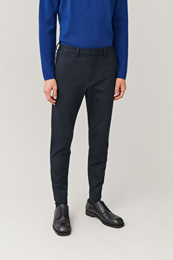 COS CROPPED ZIP-CUFF TROUSERS,Navy