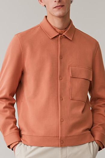 COS COTTON-TWILL SHIRT JACKET,orange