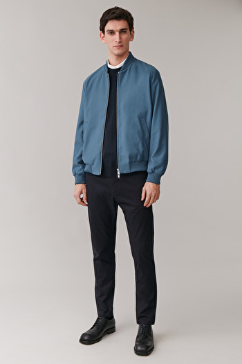 COS COTTON BOMBER JACKET,blue