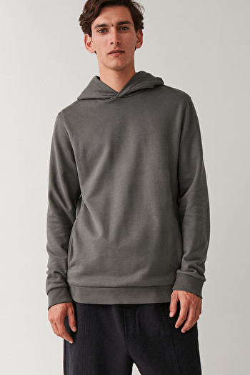 COS COTTON HOODED JUMPER,Dark grey melange