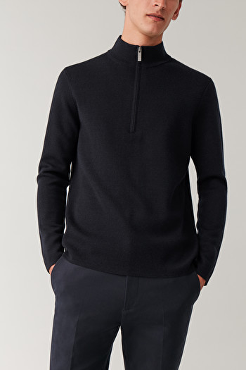 COS HIGH-NECK WOOL JUMPER WITH ZIP,Midnight blue