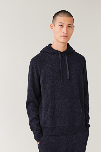 COS CASHMERE HOODIE,navy