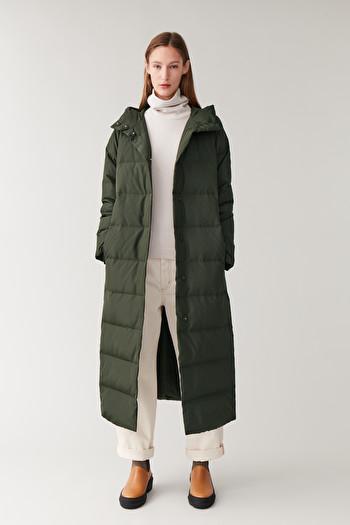 코스 후드 롱 패딩 코트 COS HOODED LONG PUFFER COAT,khaki green