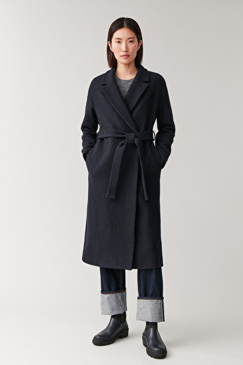 COS OVERSIZED BELTED WOOL COAT,Midnight blue