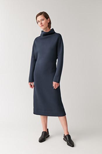 COS FUNNEL-NECK SCUBA DRESS,Navy