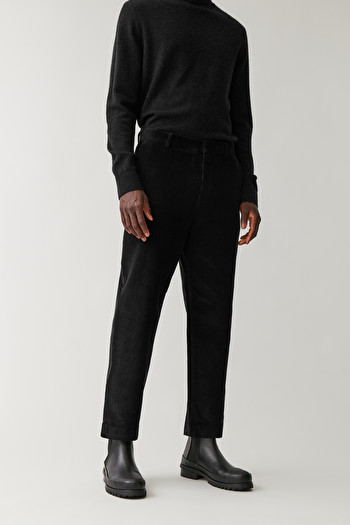 COS CROPPED CORDUROY TROUSERS,Black