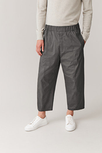 COS ELASTICATED ORGANIC-COTTON TROUSERS,grey