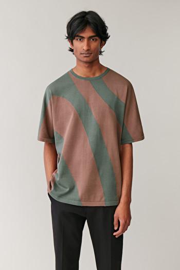 COS INTARSIA-KNIT T-SHIRT,green \/ bronze