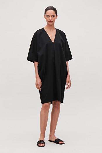 COS OVERSIZED KIMONO-SHAPE DRESS,Black