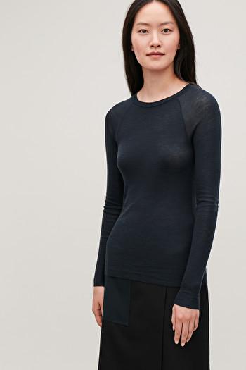 코스 티셔츠 COS LONG-SLEEVED WOOL T-SHIRT,Blue