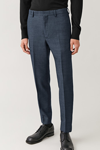 COS SLIM WOOL-MIX TROUSERS,Blue