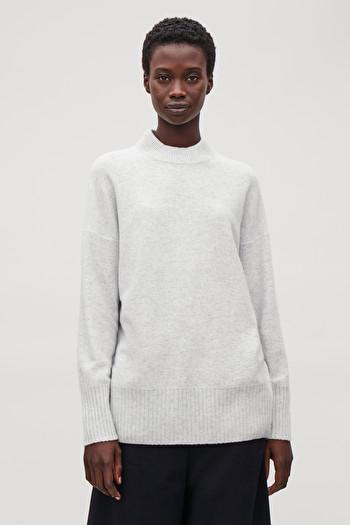 코스 청키 캐시미어 스웨터 COS CHUNKY-RIB CASHMERE JUMPER,Grey Melange