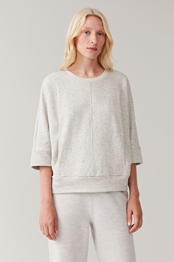 COS SPECKLED OVERSIZED TOP,Chalk white