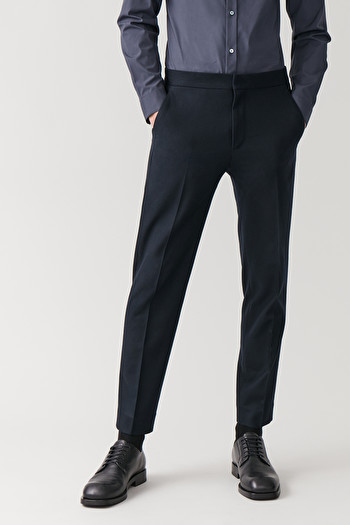 COS STRAIGHT WOOL-CASHMERE TROUSERS,navy