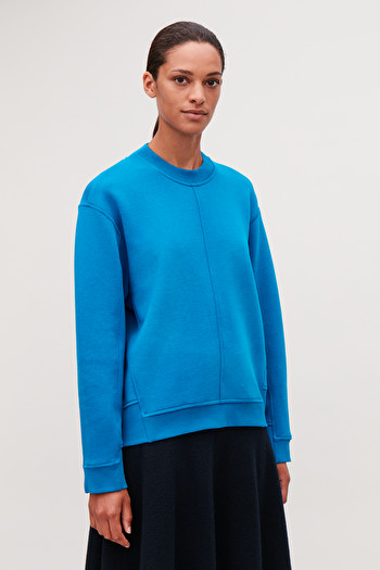 COS PANELLED RECYCLED COTTON SWEATSHIRT,Azure blue