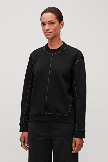 COS PANELLED RECYCLED COTTON SWEATSHIRT,black \/ white