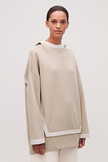 COS COCOON-SHAPE HOODED SWEATER,oatmeal \/ white