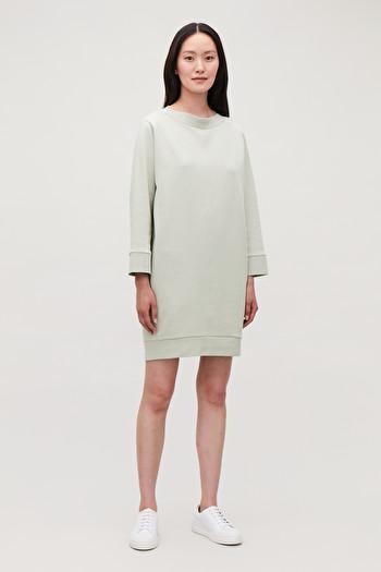 COS OVERSIZED SWEATSHIRT DRESS,Sage