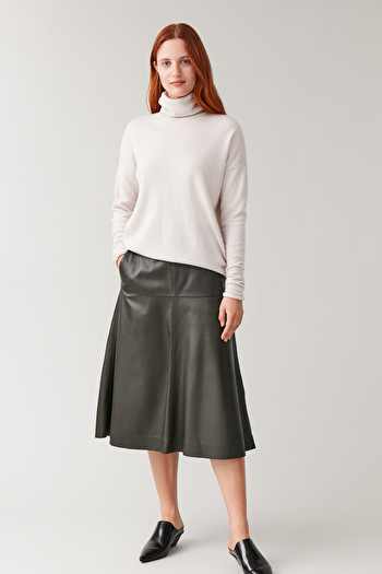 코스 에이라인 스커트 COS A-LINE LEATHER SKIRT,khaki green