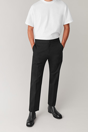 COS TROUSERS WITH ADJUSTABLE WAIST,Black