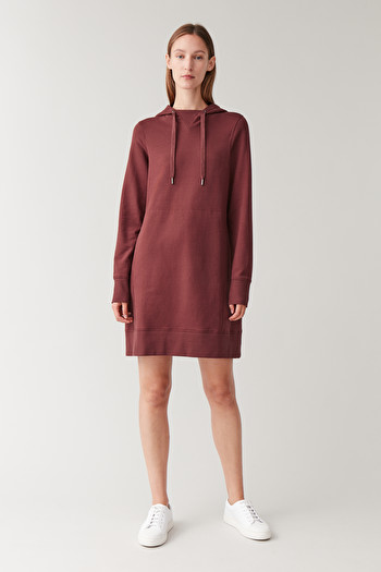 COS HOODED COTTON DRESS,Burnt Maroon