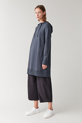 COS HOODED COTTON DRESS,blue