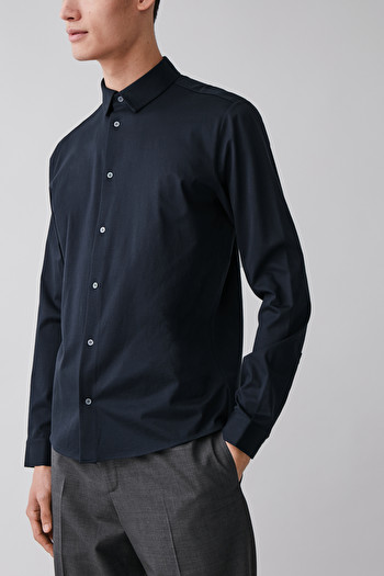 코스 셔츠 COS COTTON JERSEY SHIRT,Navy