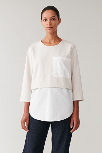 COS OVERSIZED WOVEN-JERSEY TOP,Beige \/ off white