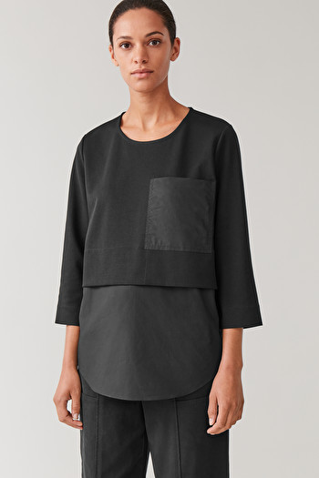COS OVERSIZED WOVEN-JERSEY TOP,Black
