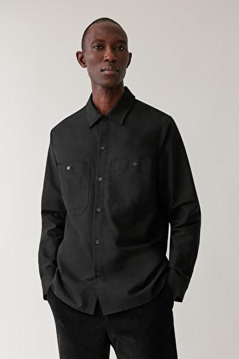COS COTTON FLANNEL SHIRT,black