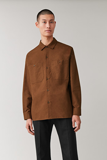 COS COTTON FLANNEL SHIRT,brown