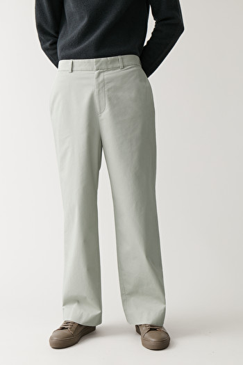 COS WIDE ORGANIC-COTTON TROUSERS,Washed mint