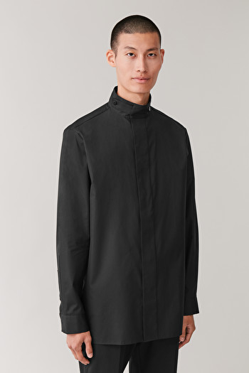 COS COTTON SHIRT WITH FUNNEL COLLAR,Black