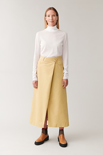 코스 스커트 COS COTTON SKIRT WITH WRAP DETAIL,Yellow