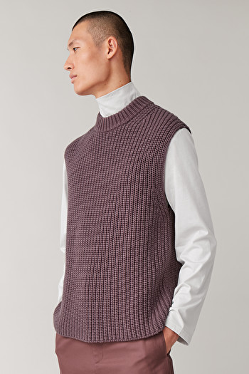 COS KNITTED COTTON-WOOL VEST,purple