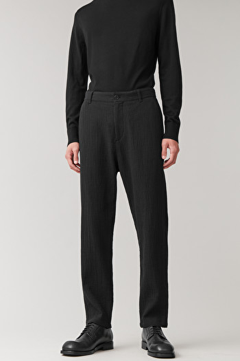 COS PLEATED COTTON-WOOL TROUSERS,black
