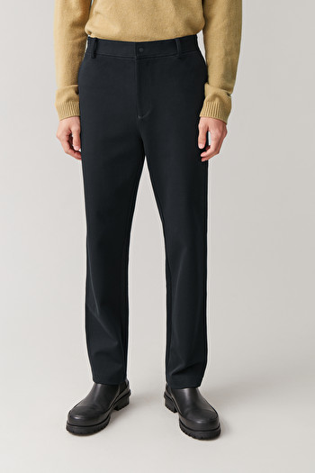 COS COTTON-MIX TWILL TROUSERS,midnight blue