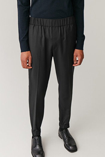 COS ELASTICATED TAILORED TROUSERS,Black