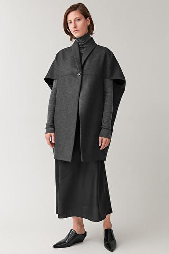 COS WOOL-CASHMERE CAPE COAT,Dark grey melange