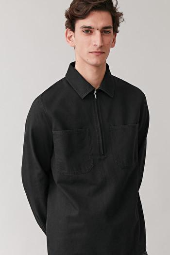COS ZIPPED ORGANIC COTTON DENIM TOP,black
