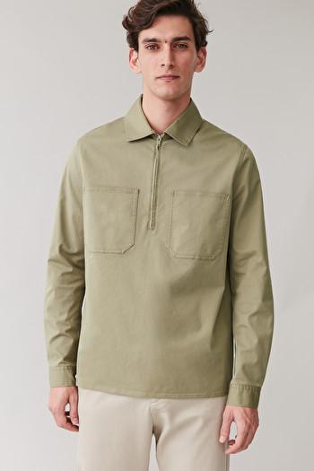 COS ZIPPED COTTON TOP,khaki green