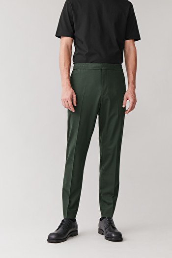 COS ELASTICATED TAILORED PANTS,dark green